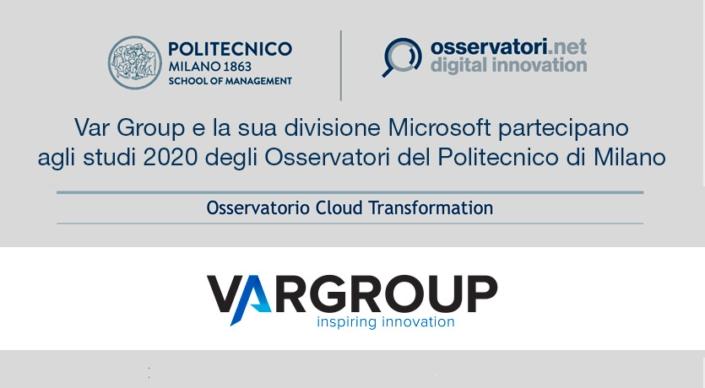ar Group è sponsor dell' Osservatorio Cloud Transformation per creare e diffondere la conoscenza del Cloud, abilitatore della digital transformation.