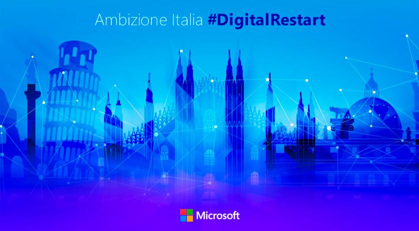 #DigitalRestart - Microsoft annuncia investimenti per 1,5 miliardi $ per i prossimi 5 anni per creare la prima Region Data Center in Italia e iniziative per la crescita del Paese.